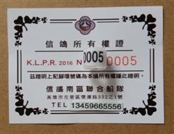 2016年KLPR 台湾脚环信鸽南区联合船队 保真!