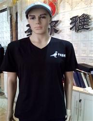 信鸽半袖文化衫V领-黑色