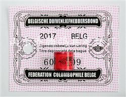 2017年比利时带证足环 信鸽鸽子用品 鸽具 外籍带证足环