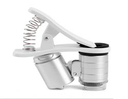 手机夹子式60倍通用放大镜 手�C视频显微镜