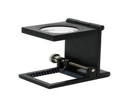 包邮10倍三折式放大镜(金属框)带灯带刻度高清晰照布镜 125g 鸽眼放大镜