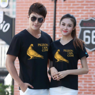 爱鸽者莱卡棉V领T恤(金粉印文化衫)L号