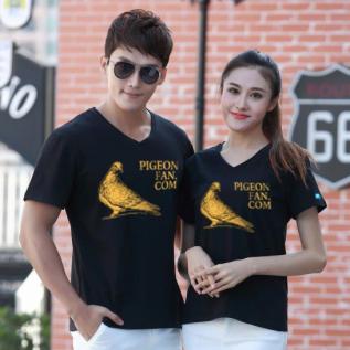 爱鸽者莱卡棉V领T恤(金粉印文化衫)M号
