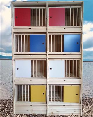 鸽笼木质信鸽巢箱种鸽配对笼赛鸽巢箱实木鸽具种鸽调节巢箱鸽子窝