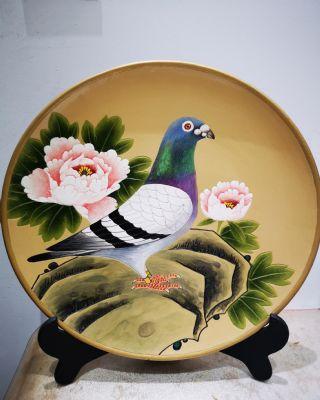 1号盘纯手工彩绘陶艺